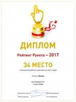 Рейтинг Рунета 2017. Icrea Дизайн студия